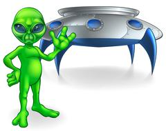 Alien and Flying Saucer Space Ship Piirros