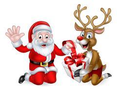 Santa and Reindeer with Christmas Gift Stock Illustration