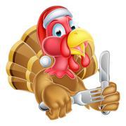 Cartoon Turkey in Christmas Santa Hat Holding Knife and Fork Stock Illustration