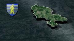 Territoire de Belfort with Coat Of Arms Animation Map Stock Footage