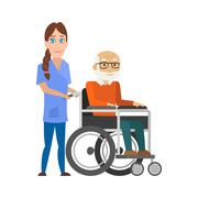 Young nurse pushing wheelchair with disabled old man. Helping elderly and sick Stock Illustration