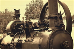 Steam engine in agricultural work Stock Footage