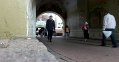 "The main entrance to the monastery, the wall painting ""the Life of St. Sergius"" Stock Footage"