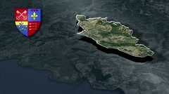 Vaucluse with Coat Of Arms Animation Map Stock Footage