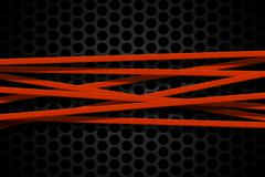 Orange carbon fiber frame on black mesh carbon background. Stock Illustration