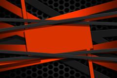 Orange and gray carbon fiber frame on black mesh carbon background. Stock Illustration