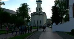 Visitors to the Temple complex on the territory of the monastery Stock Footage