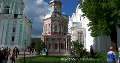 The South-Western side of the Dormition Cathedral, nadkladeznaya chapel built Stock Footage