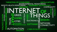 Internet of things word tag cloud - green, English variant Stock Footage