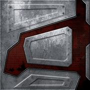 Scifi wall. rust metal wall and red mesh. metal background and texture 3d ill Stock Illustration