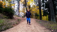 Little boy running on a path into woods Stock Footage