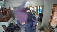 Funny Burglar Dancing In Front of Camera While Robbing Stock Footage