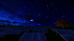 Solar pannels, timelapse night to day, aerial view Stock Footage