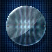 Set 8. circle glossy glass on blue metallic mesh wall. Stock Illustration