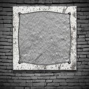 Set 8. old metal frame on brick wall. Stock Illustration