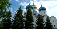 Majestic domes of the assumption Cathedral, the architectural centre of Lavra Stock Footage