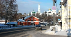 Old Russian city in winter, view of the Lavra, the roadway Stock Footage