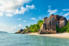 Anse source d'argent beach in seychelles Stock Photos