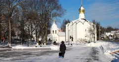 Over the Ancient Russian city of blue sky, frost and sun, the Orthodox Church Stock Footage