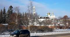 Dear city, the panorama, the sun gilds the domes of the Churches, Trinity Lavra Stock Footage