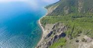 Baikal lake, Sennaya pad'. Aerial view, camera tilt, 4K. Stock Footage