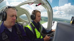 Mentored Practice of Young Student Pilot Stock Footage