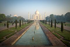 The Taj Mahal shines at sunrise, Agra India Stock Photos