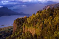 Storm light at Vista House atop Crown Point, along the historic Columbia River Stock Photos