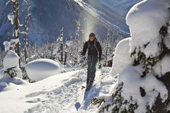 A male ski tourer skinning uphill in search of perfect powder. Roger's Pass, Stock Photos