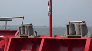 Fairlead on front part of ship with red beads Stock Footage