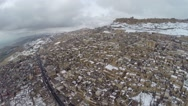 Historical city snow winter drone Stock Footage
