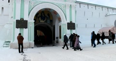 The Holy gates of Lavra, painting and wall decor, the visitors Stock Footage