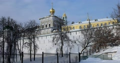 Dome of the Refectory Church, the walls of the ancient monastery, the ramparts Stock Footage