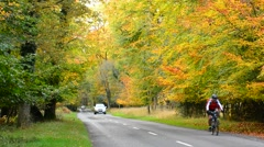 Cyclist & car on country lane in Autumn Stock Footage