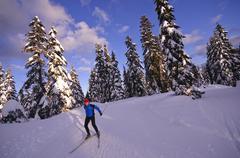 Nordic skate skiing at Cypress Mountain ski area, Hollyburn Mountain. Cypress Stock Photos