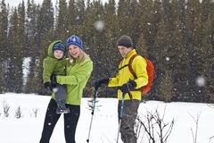 A young outdoorsy family going for a snowshoe at Peter Lougheed Provincial Park, Stock Photos