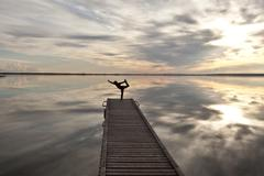 Young girl practises yoga on dock on Cardinal Lake, Queen Elizabeth Provincial Stock Photos