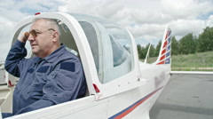 Mature Pilot Ready to Fly Stock Footage