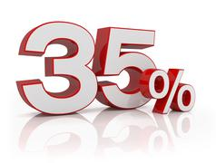 3d - 35 percent - red Stock Illustration