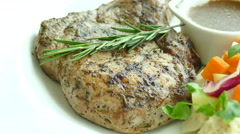 Grilled Pork chop steak Stock Footage