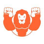 Angry lion. Aggressive wild beast. Logo big leo. Evil wild animal. Emblemo fo Piirros
