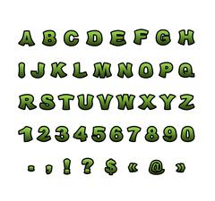 Mutant font. Green rough comic alphabet in style. Abstract ABC. Rough letters Stock Illustration