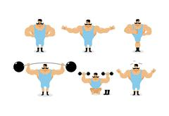 Strong retro athlete set poses. Ancient bodybuilder with mustache emotions. S Stock Illustration