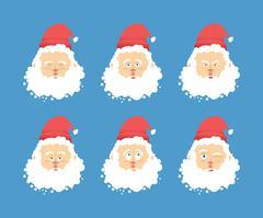 Santa Claus emotions set . Christmas character expression. Angry and good. Su Stock Illustration