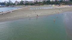 Aerial flight over beach at Black Sea, Constanta, Romania Stock Footage