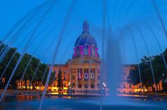 Fountain and pool at the Alberta Legislature, Edmonton, Alberta, Canada Stock Photos