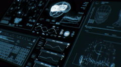 Ultra high resolution footage of brain scan futuristic interface in perspective Stock Footage