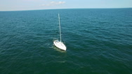 Aerial flight over sailboat, Black Sea Stock Footage