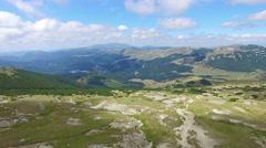 Aerial flight over Bucegi plateau and mountains, Romania Stock Footage