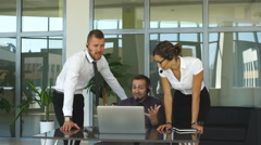 Call center operators happy their success Stock Footage